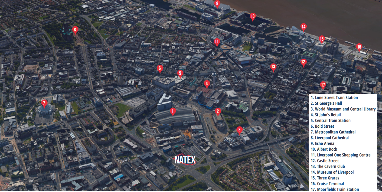 Natex is located within 5 minutes walk of 2 of Liverpool's top universities. It also in close proximity to some of the city's top hotspots.
