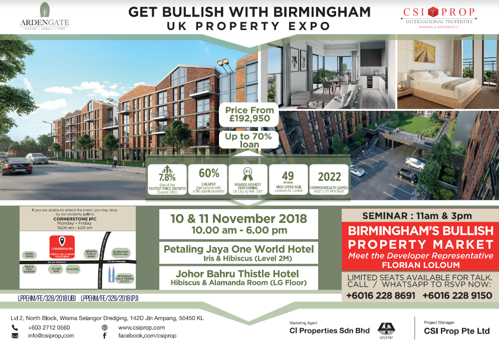 Find out more about Arden Gate, our latest Birmingham residential investment property in the Midlands. Birmingham has been voted the UK's fastest-growing city by PwC. Come meet our developer rep and learn about Birmingham's bullish property market.